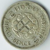 George VI, Silver (.500), Threepence 1943 (For Colonial Use), F, M6465